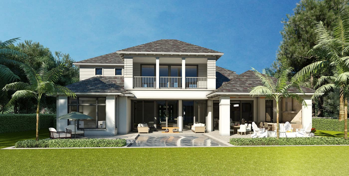 Edgewater Model Rear View, Enclave of Distinction, Naples Custom Home Builders, Naples Luxury Home Builders, Luxury Custom Homes in Naples, Naples Fl New Home Builders, Naples Custom Home Builders, Custom Homes Builders in Naples, Naples Luxury Home Builders, Home lots in North Naples, North Naples Lot and Home Packages